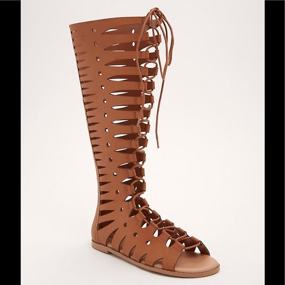 db381621bd9e NIB Torrid Tall Gladiator Sandals size 9.5W Cognac